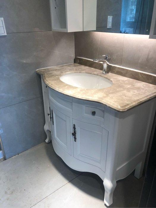 FUO衛浴:100公分古典浴櫃大理石台面