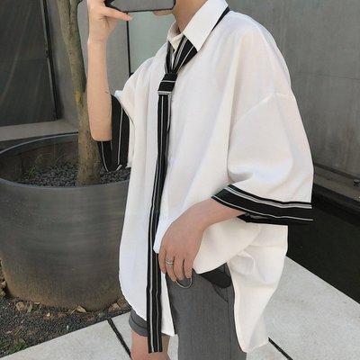 襯衫 韓版 夏季心機領帶襯衫男士韓版痞帥五分袖上衣寬松網紅很仙的短袖襯衣