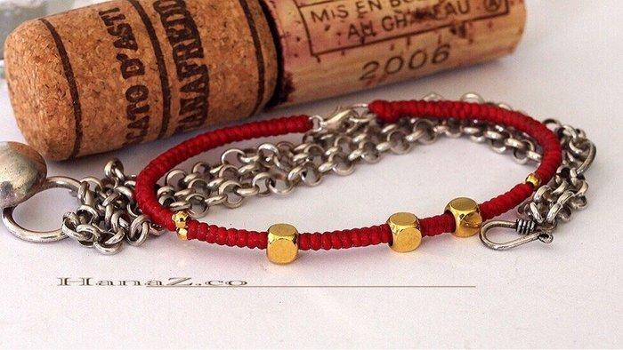 銀囍手作飾物~絲質蠟線手工創作編結手環/瑬金珠寶格麗紅繩手鏈富貴紅 開運避邪桃花到