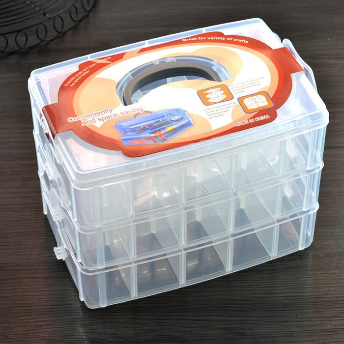 Amy烘焙網:三層大號食品级PP塑料30格收纳盒/花嘴色筆/指甲修護文具工具收納