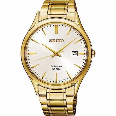 可議價.「1958 鐘錶城」SEIKO精工錶 簡約時尚 男錶(SGEH72P1)-銀x金/40mm