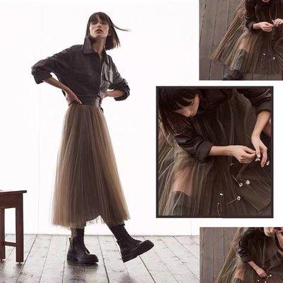 網紗半身裙 21早春半身裙 皮革腰帶拼接 高腰雙層不規則網紗半身裙 賣場2件9折3件8折特價無折
