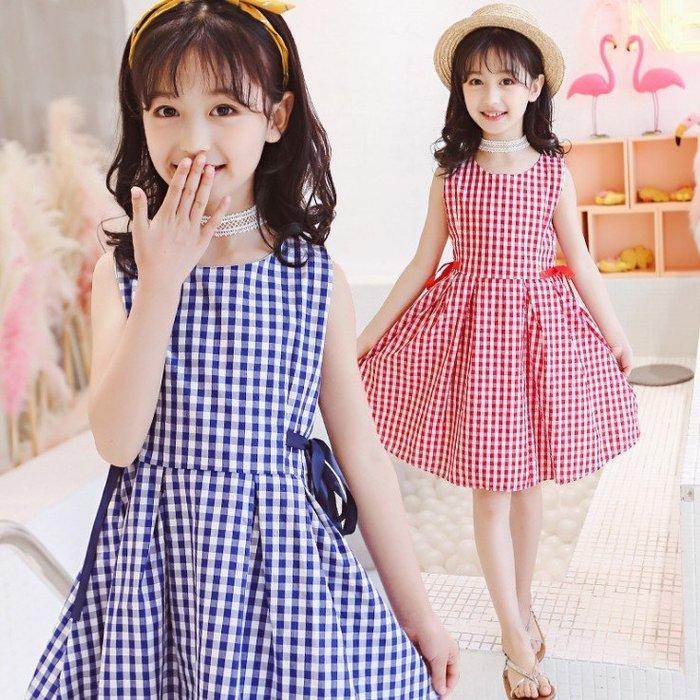 日韓歐美♥中大女童 韓版洋裝 甜美連身裙 夏日格紋背心裙【Q024】