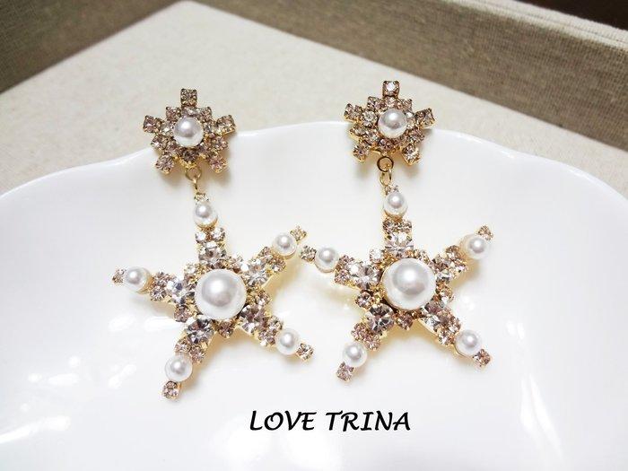 【Love Trina】J2503-8163。 925銀針。奢華大星星珍珠耳針式耳環--銀針(1色)