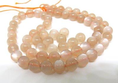 【天然寶石DIY串珠材料-超值組】超美3A橘色月光石6mm圓珠寶石珠(單顆零售)