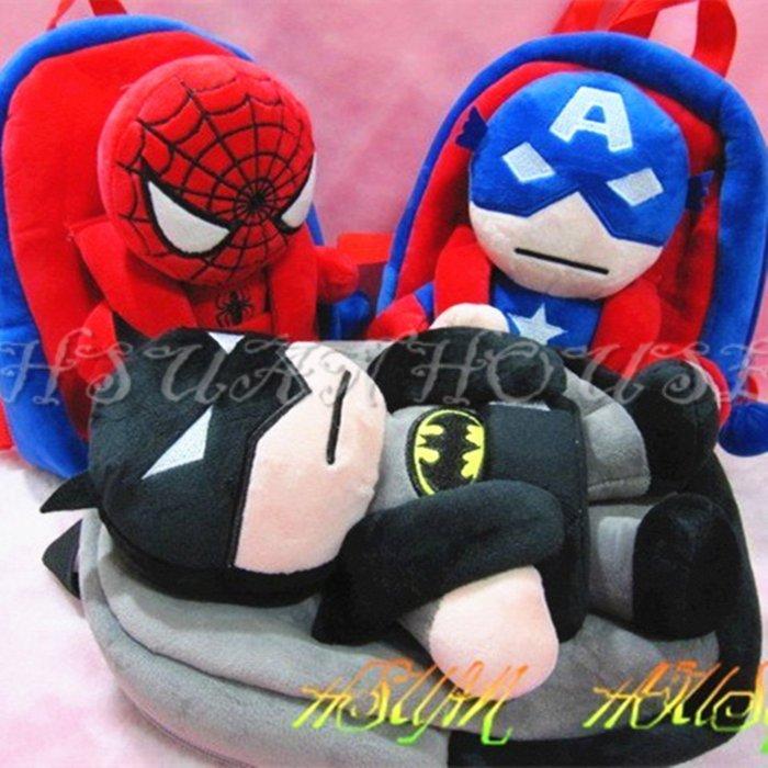 ☆HSUAN HOUSE☆復仇者聯盟 蜘蛛人  蝙蝠俠 超人 美國隊長 小小兵 玩偶可拆式兒童 後背包 書包 背包