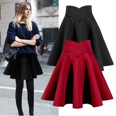 ZIHOPE 高腰百褶短裙女新款黑裙子A字傘裙半身裙大碼蓬蓬毛呢秋冬季ZI812