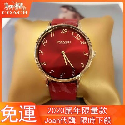 新品上市COACH蔻馳手錶 鼠年限量款 小金豬款 紅色真皮錶帶時尚簡約女錶 防水石英腕錶 14503486