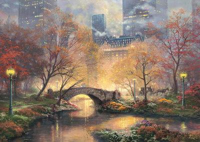 缺 歐洲進口拼圖 SCH 繪畫風景 美國 秋天的中央公園 1000片拼圖 58387