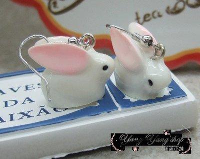 *。漾漾小舖*。超可愛的粉紅耳朵立體小兔子勾式耳環˙精鍍白K【A2652】☆°可免費改夾