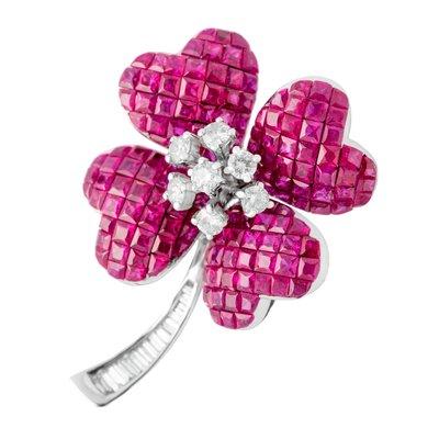 【JHT金宏總珠寶/GIA鑽石專賣】6.35克拉紅寶鑽石胸針/材質:18K(JB53-B04)