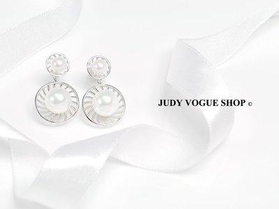韓國 耳環 簡約垂式耳環 流線耳環 珍珠耳環 JUDY VOGUE SHOP【JES-0016】
