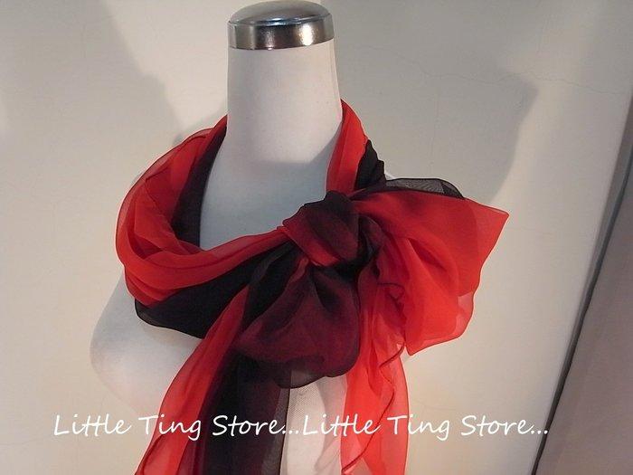 Little Ting Store:SILK漸層素面絲巾(寬版)長巾髮圈/髮帶可搭配絲巾圍巾披肩頭巾帽子漸層黑紅