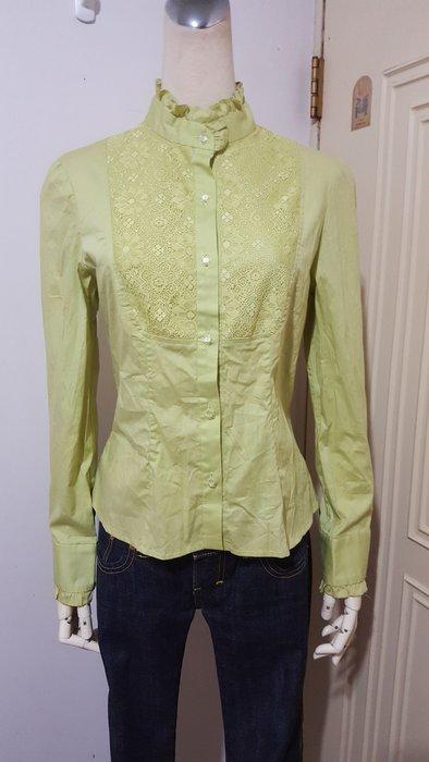 Donna Hsu六藝設計師品牌嫩綠色宮廷風蕾絲前襟彈性修身棉質襯衫#9 (適S~M)*290元直購價*