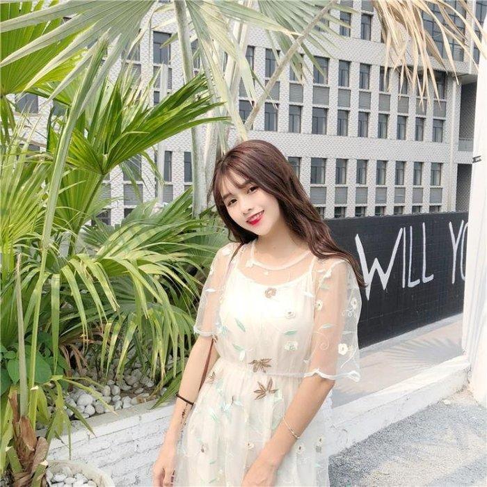 夏季韓版時尚套裝甜美碎花刺繡透視網紗連衣裙 中長款打底吊帶裙