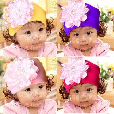 高品質 韓版秋冬嬰兒童毛線珍珠花朵假髮帽子 女寶寶保暖套頭帽護耳帽 台北市