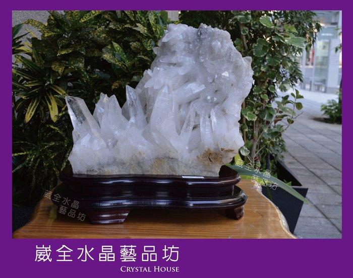 【崴全水晶】【附贈實木座】稀有 大型 天然 白水晶簇 轉運 淨化 鎮宅 避邪【不含座重 16kg】