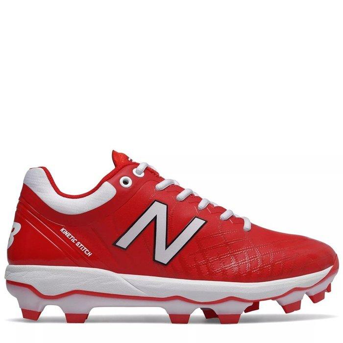 【一軍運動用品-三重店】NEW BALANCE 壘球鞋紅白 膠釘鞋 PL4040R5-2E