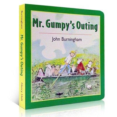 英文原版 兒童繪本 Mr.Gumpy's Outing 和甘伯伯去游河 吳敏蘭少兒繪本紙板 兒童學習英文版 圖畫故事書