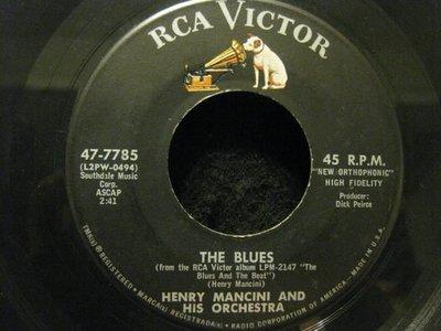 45轉美版黑膠唱片(7吋)*RCA*Henry Mancini --the Blues/Big Noise from Winetka*NM-
