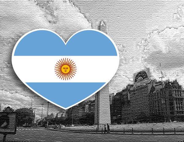 【國旗貼紙專賣店】阿根廷愛心形旅行箱貼紙/抗UV防水/多國款可收集和客製