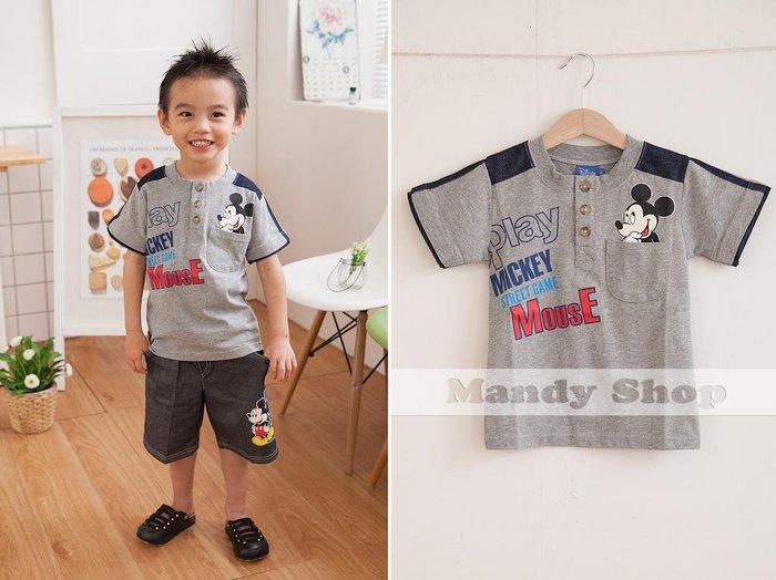 mandyshop【3069】台灣製㊣ Disney迪士尼 / 米奇拼袖100%純棉灰色短袖T恤