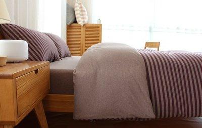 日式新疆天竺棉系列~MUJI無印良品風 純棉簡約墨綠中條紋標準雙人床包被套4件組(5尺)~PicHome 挑 家居