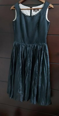 (特降)日本製 貴婦品牌 ROPE Classe 黑絲小禮服,絲緞滑面花邊領百摺裙擺。尺寸9碼有內裡無彈性 MsGracy 三宅一生Chanel Clathas