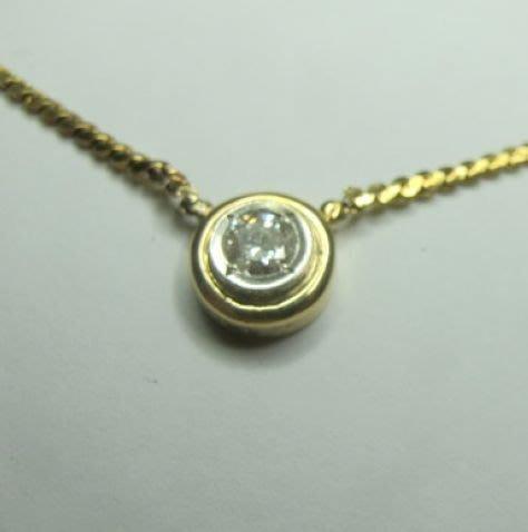 [一品軒2手珠寶促銷拍賣]天然鑽石主鑽0.52ct+義大利18黃k金項鍊