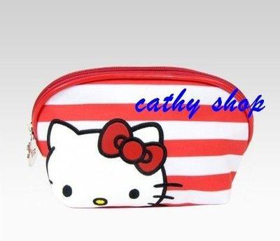 *凱西小舖*海外歐美限定版三麗歐正版KITTY凱蒂貓紅白條紋半圓收納/化妝包