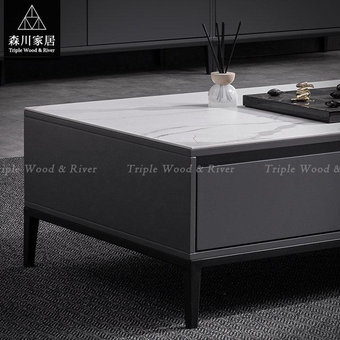 《森川家居》PLT-50LT11-義式現代設計岩板大茶几 客廳起居室桌椅/輕奢石紋收納民宿餐廳/LOFT品東西IKEA