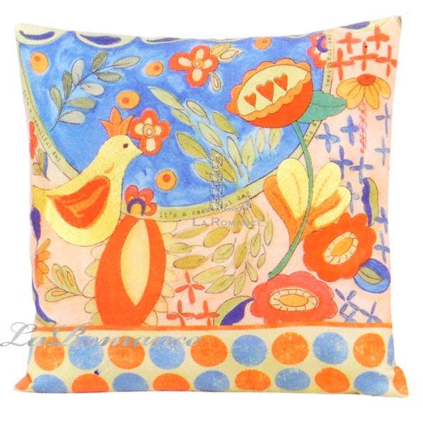 【Creative Home】Heart & Home 心戀家居系列鳥趣亞麻混棉刺繡抱枕 D