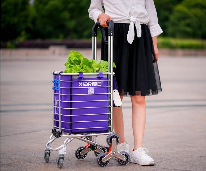 夏日購物車買菜車小拉車手拉車爬樓折疊便攜家用推車拉杆老人拖車