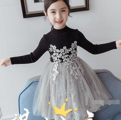 針織洋裝 女童連衣裙 兒童公主裙 中大童5-12歲 小女孩秋裝針織毛衣裙 莎芭