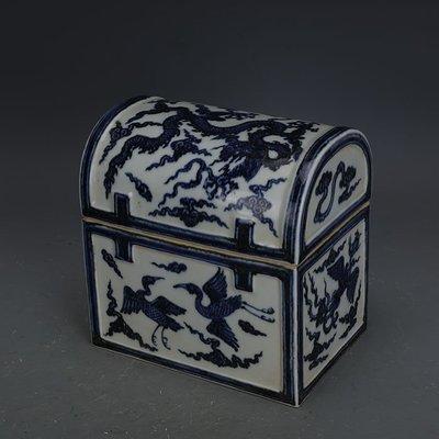 ㊣姥姥的寶藏㊣ 大明宣德青花手繪龍紋紋珠寶箱  出土文物古瓷器古玩古董收藏擺件