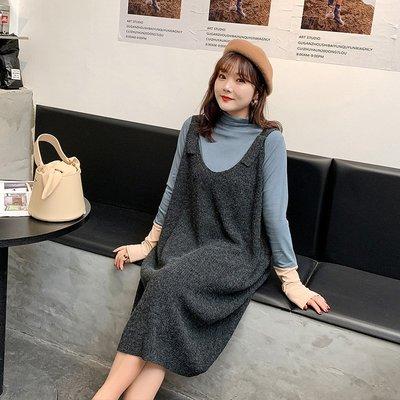 ✿plump girl 韓系✿大尺碼女裝羊毛混纺V領針織背心裙3979