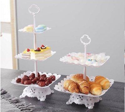 雨晴嚴選 果盤塑料水果盤居家用客廳三層蛋糕架歐式干果盤下午茶點心臺甜品架雙層YQ565