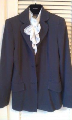 夏姿深黑鐵灰色單排西裝外套