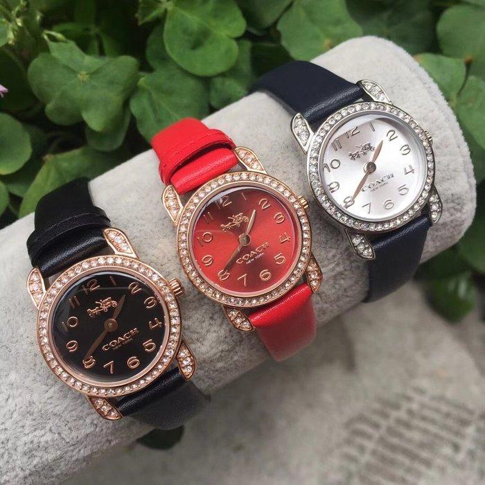NaNa代購 COACH 手錶 皮革錶帶 石英手錶 帶鑽 簡約精緻 生活防水 附購證