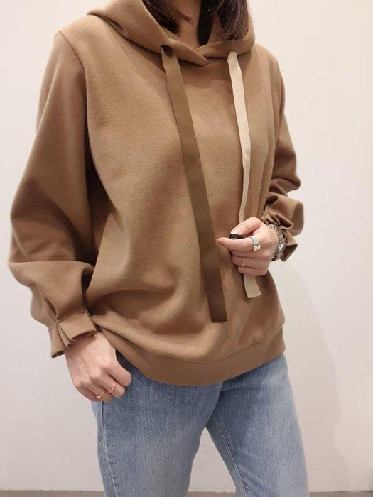*~fuyumi boutique~*100%正韓 冬裝新款 緞帶抽繩袖口打褶造型連帽大學T 奶白/咖/黑