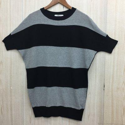 【愛莎&嵐】KiKi 女 黑灰條紋短袖針織衫 / F 1070907