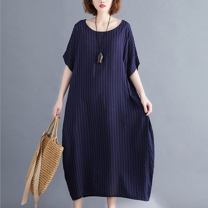 漂亮小媽咪 寬袖夏日薄款棉麻洋裝 【D6636】 夏日涼爽 純色 超質感 短袖 寬鬆 加大 輕薄洋裝