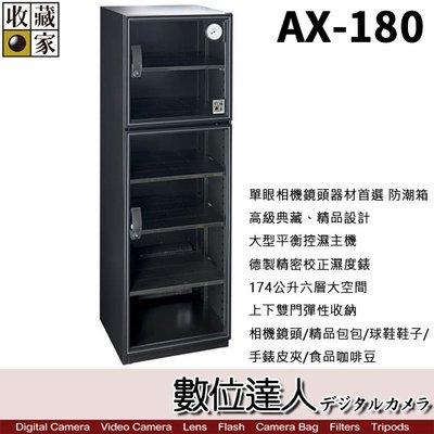 【數位達人】免運 台灣收藏家 電子防潮箱 AX-180 AX180 174公升 超省電無聲運作 防潮箱 收藏箱
