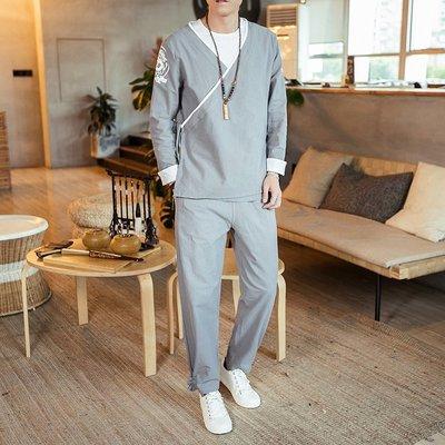 【型男風尚】AZ1261*M-5XL 中國風男裝 漢服 棉麻套裝 大碼 3色