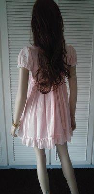 【】白色蕾絲粉紅純棉女僕裝娃娃裝