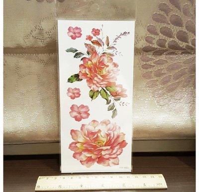 【萌古屋】水墨粉紅牡丹手臂大圖  - 男女防水紋身貼紙刺青貼紙K00