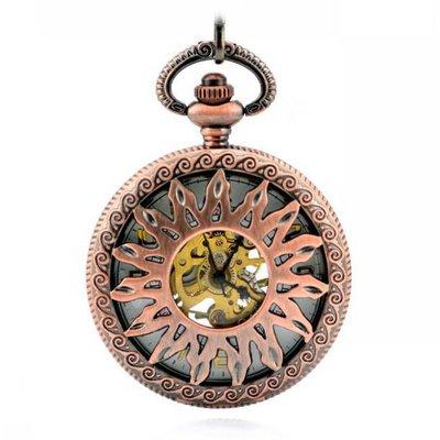 火焰花標記 紅銅中空 機械懷表 復古 鏈 時尚男女士禮品手表