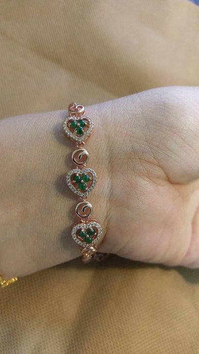 天然緬甸翡翠~冰種迷你陽綠蛋面~925銀手鍊,玫瑰金愛心造型款~