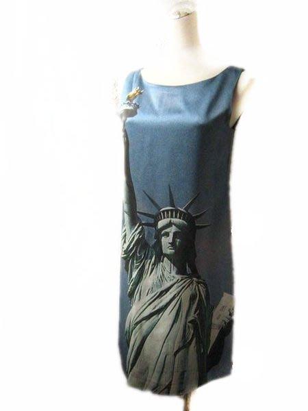 *Beauty*MOSCHINO藍色絲緞面自由女神圖像洋裝 I38號 WE13