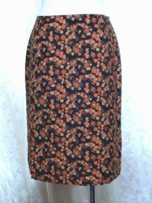 ~麗麗ㄉ大碼舖~#4-6(26-28吋)咖啡色印花棉绒前岔短裙~全賣場3件免運